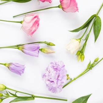 Flores en colores pastel uniformemente dispuestas