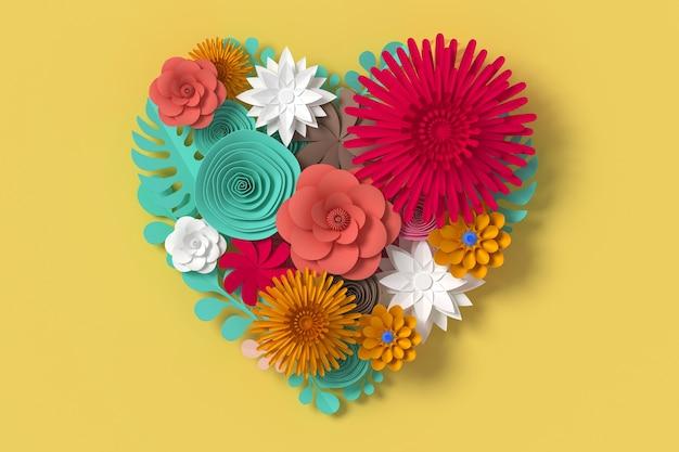 Las flores coloridas son forma de corazón, sobre fondo amarillo