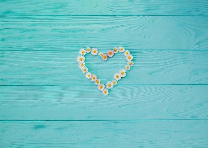 Flores de margarita en forma de corazón en tablero de madera pintada azul