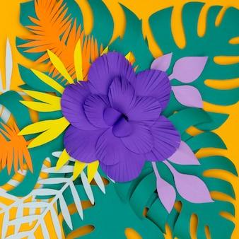 Flores de flor en papel estilo