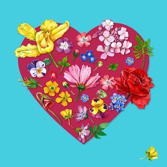 Flores en forma de corazón de acuarela