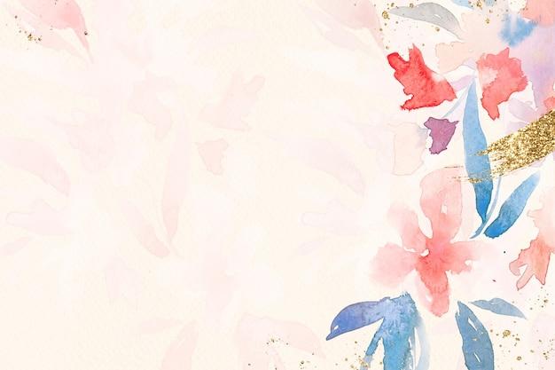 Flores frontera fondo acuarela en primavera rosa