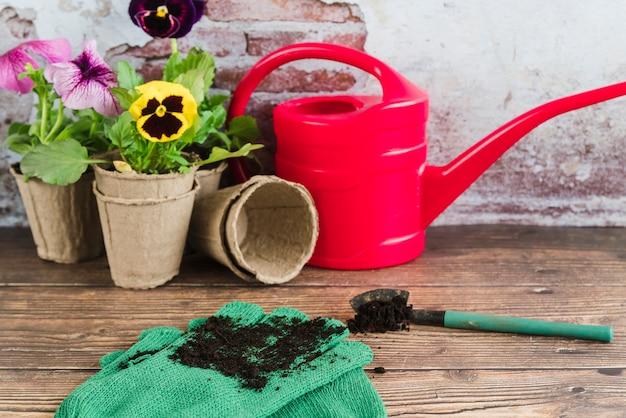 Flores de jardinería en macetas de turba; regadera; pala y guantes de jardinería en mesa de madera.