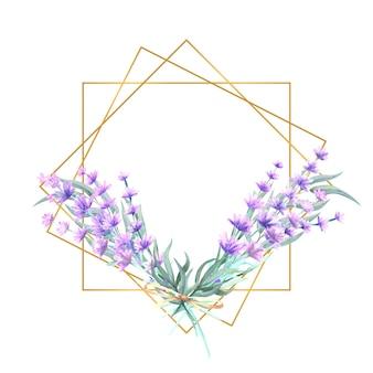 Flores de lavanda en un marco dorado en forma de diamante