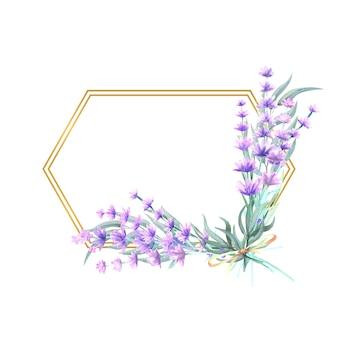 Flores de lavanda en un marco dorado poligonal