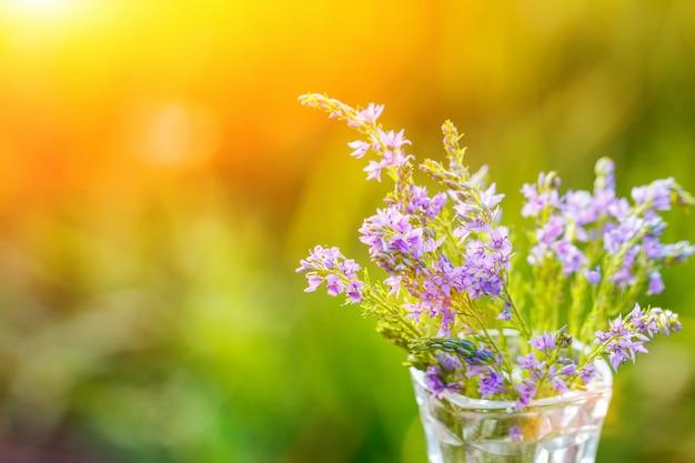 Flores lilas en un florero de primer plano sobre un fondo natural