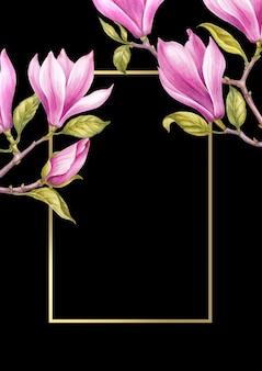 Flores de magnolia rosa sobre fondo de marco