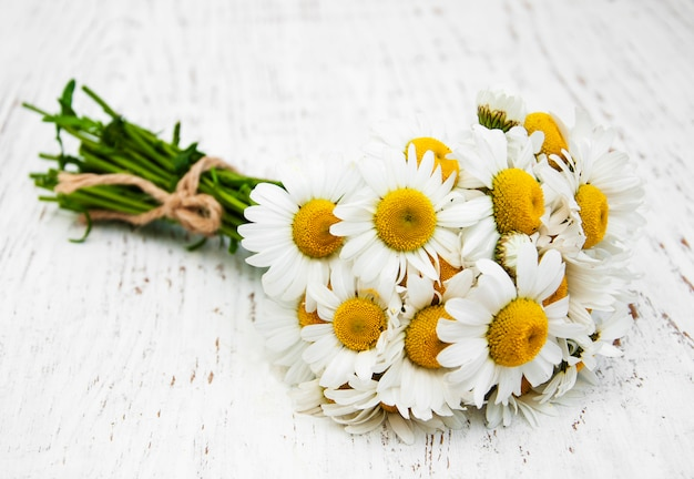Flores de manzanilla sobre un fondo de madera.