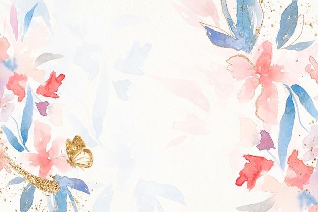 Flores marco fondo acuarela en primavera rosa