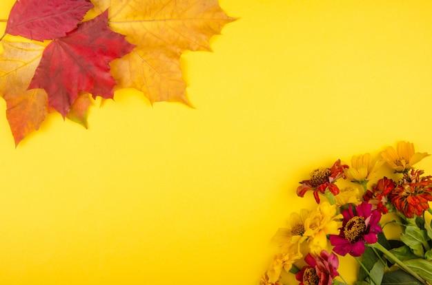 Flores de otoño y hojas sobre un fondo amarillo
