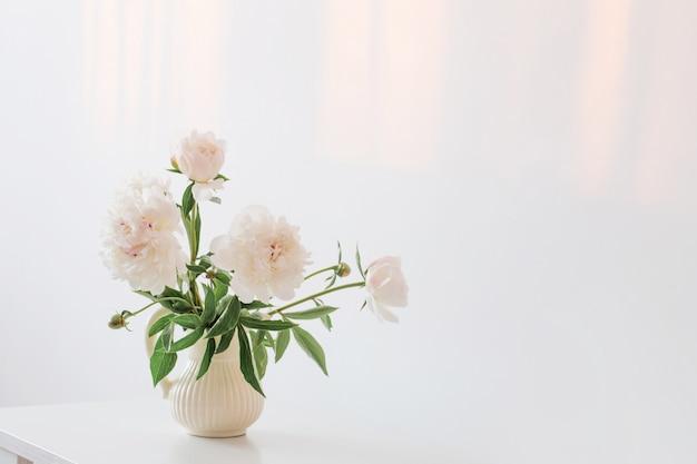 Flores de peonías en florero en blanco