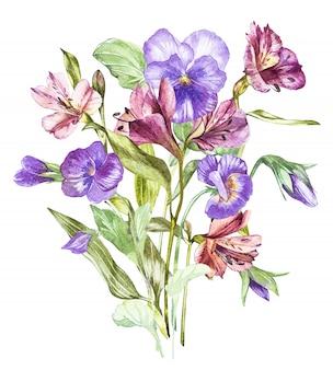 Flores de primavera pensamiento y alstroemeria treelooking en los estantes acuarela dibujada a mano ilustración.