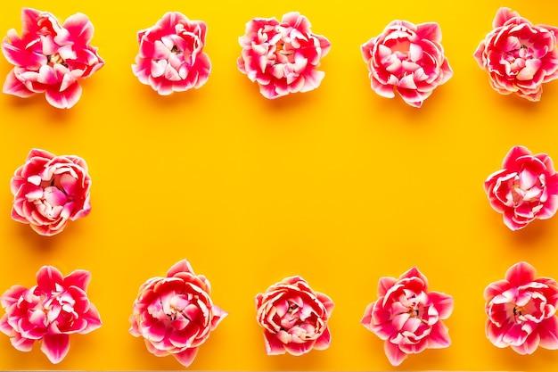 Flores de primavera. tulipanes sobre fondo de colores pastel. tarjeta de felicitación estilo retro de la vendimia.