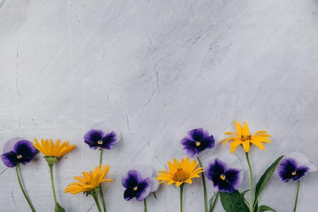 Flores púrpuras y amarillas sobre un fondo de mármol