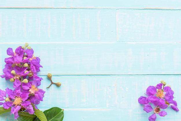 Flores púrpuras en un fondo de madera azul brillante pastel