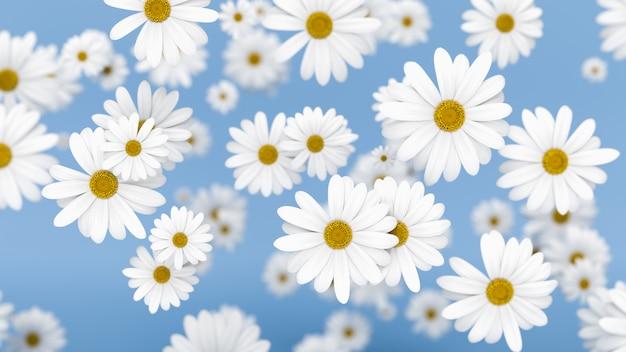 Flores que caen en el fondo azul, representación 3d.