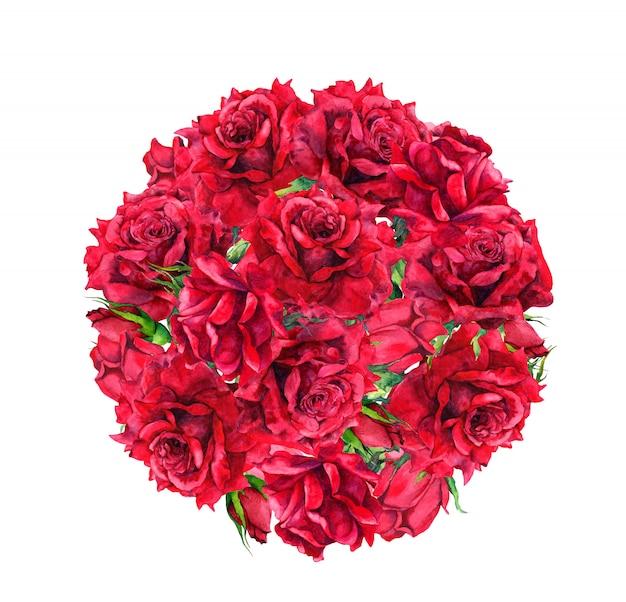 Flores rosas rojas - composición del círculo. ramo de acuarela