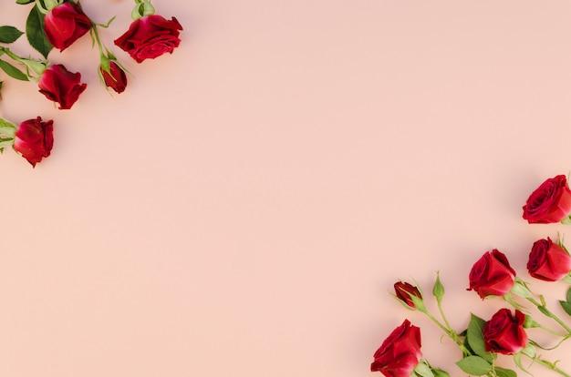 Flores rosas rojas con espacio de copia