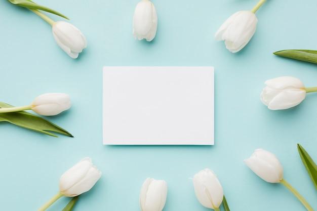 Flores de tulipán con arreglo de hojas y tarjeta blanca vacía