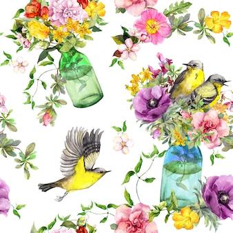 Flores de verano, botellas de vidrio y aves voladoras. fondo floral transparente acuarela