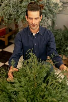 Florista experimentado y plantas de alta vista