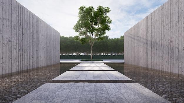 El flotador de concreto en el estanque tiene una pared de concreto al lado y un gran árbol principal