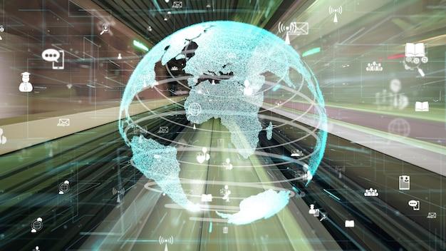 Flujo de datos digitales de movimiento rápido en la carretera con modernización gráfica de red global
