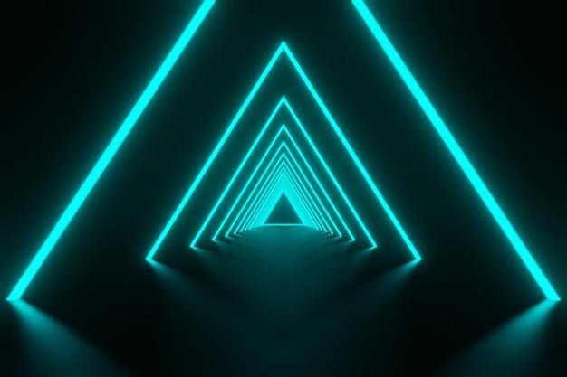 Flujo futurista abstracto datos digitales neón brillante triángulo de luz fondo de túnel representación 3d