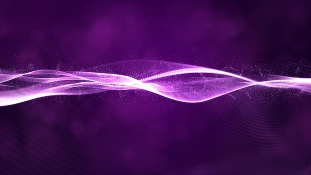 Flujo de onda de partículas digitales con fondo abstracto bokeh