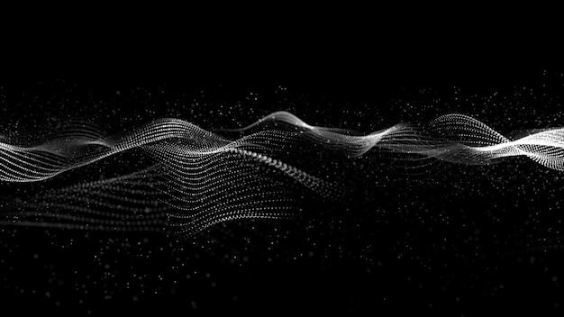 Flujo de ondas de partículas digitales en color blanco y negro