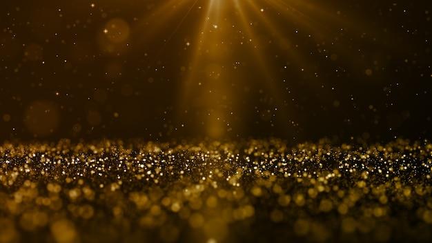 Flujo de ondas de partículas digitales de color dorado y destello de luz