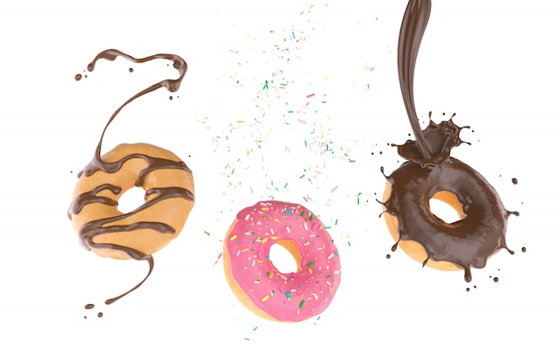 Flying donut con azúcar espolvoreado y chocolate splash