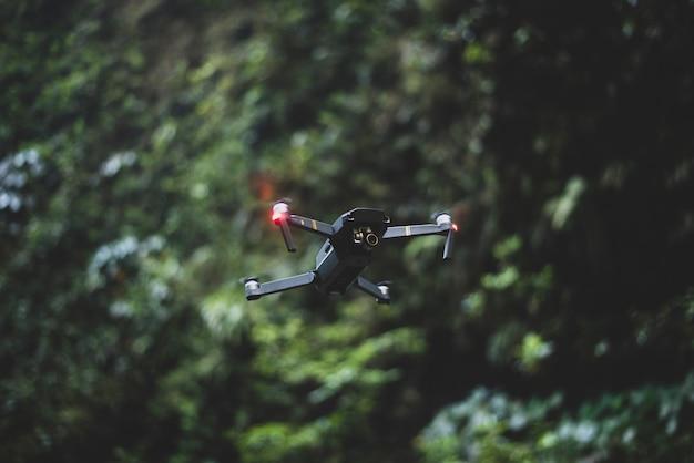 Flying drone en el bosque