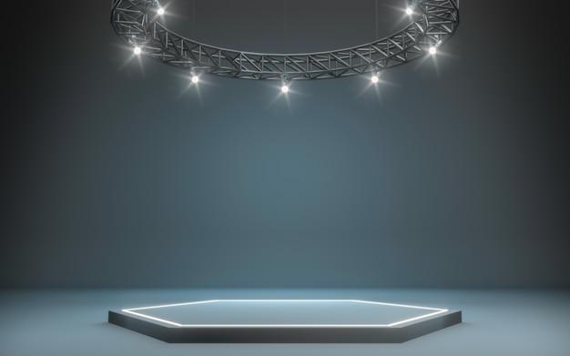 Foco de fondo y lampara con escenario. representación 3d