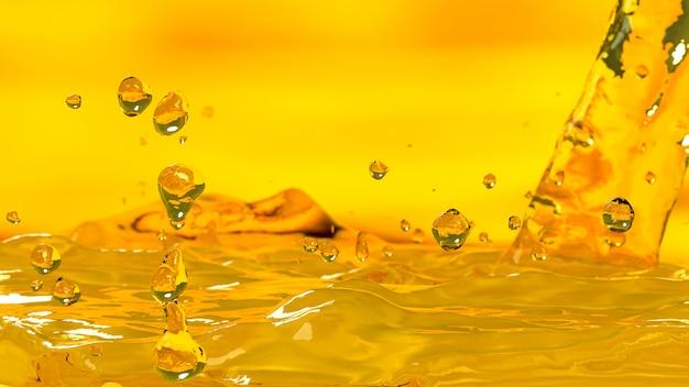 El foco selectivo del color oro del motor de coche del aceite de colada, 3d rinde.