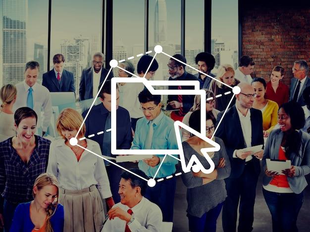 Folder sharing cursor haga clic en computer network concept