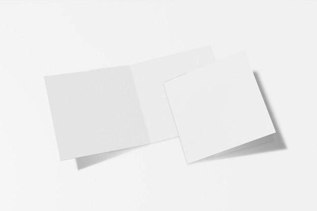 Folleto cuadrado de dos maquetas, folleto, invitación aislado en un fondo blanco con tapa dura y sombra realista. representación 3d