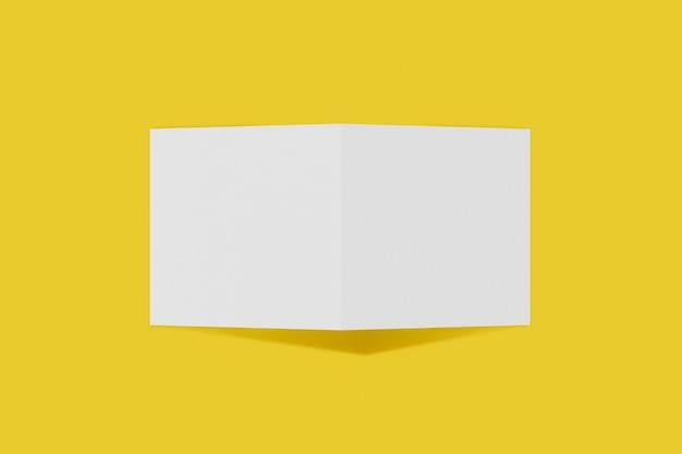 Folleto cuadrado maqueta, folleto, invitación aislado sobre un fondo amarillo con tapa dura y sombra realista. representación 3d