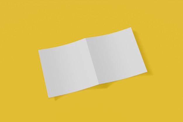 Folleto cuadrado maqueta, folleto, invitación aislado sobre un fondo amarillo con tapa suave y sombra realista. representación 3d