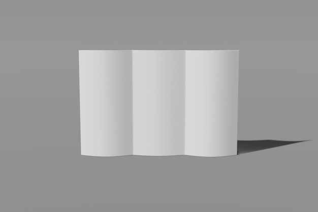 Folleto tríptico abierto sobre fondo gris
