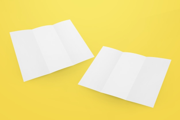 Folleto tríptico blanco vacío en blanco
