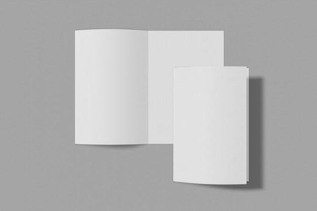 Folleto vertical de dos maquetas, folleto, invitación aislado sobre un fondo gris con tapa blanda y sombra realista. representación 3d