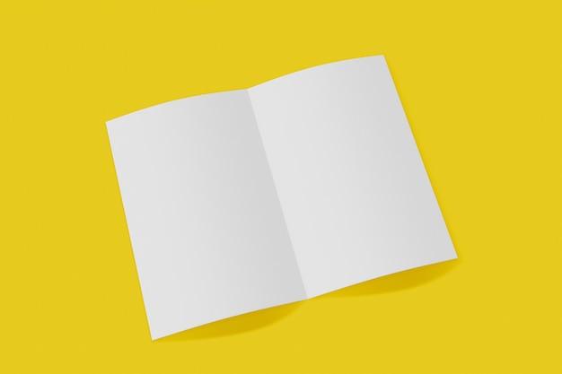 Folleto vertical maqueta, folleto, invitación aislado sobre un fondo amarillo con tapa suave y sombra realista. representación 3d