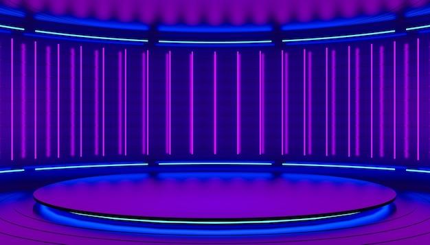 Fondo 3d abstracto minimalista rosa violeta y púrpura luz de neón de lámparas en las paredes de la ilustración 3d del escenario circular del podio