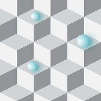 Fondo 3d isométrico con cubos. modelo inconsútil geométrico futurista. ilusión óptica de volumen