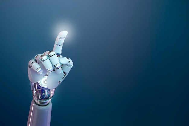 Fondo 3d de mano cyborg, tecnología de inteligencia artificial