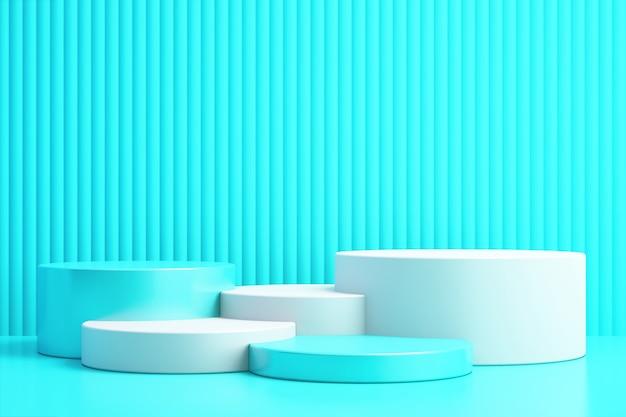 Fondo 3d para maqueta de podio para presentación de producto, fondo azul, renderizado 3d