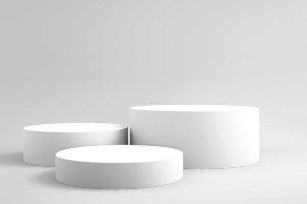 Fondo 3d para maqueta de podio para presentación de producto, fondo blanco, renderizado 3d