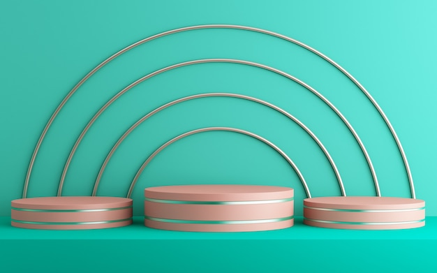 Fondo 3d para maqueta de podio para presentación de producto, fondo verde, renderizado 3d