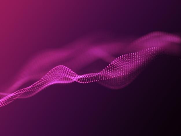 Fondo 3d con partículas que fluyen